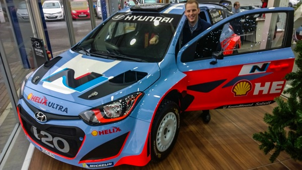 WRC Rally car visits Pebley Beach in Swindon